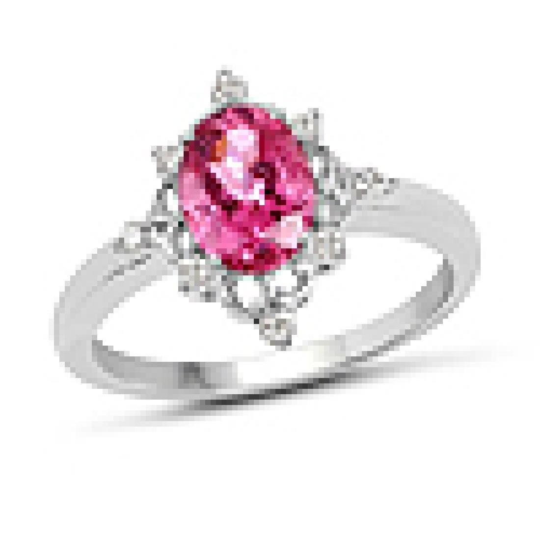 1.28 Carat Genuine Pink Tourmaline and White Diamond 10