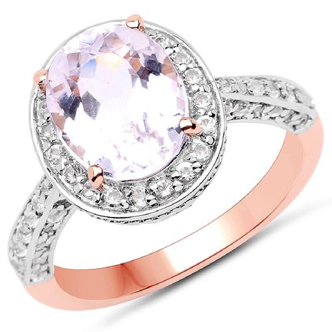14K Rose Gold Plated 3.86 Carat Genuine Kunzite and Whi