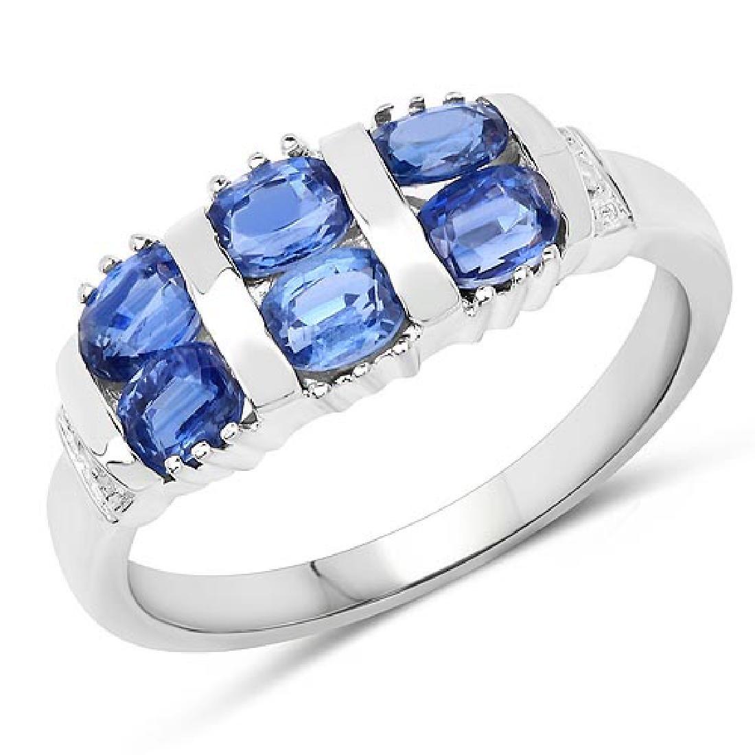 1.63 Carat Genuine Kyanite and White Diamond .925 Sterl