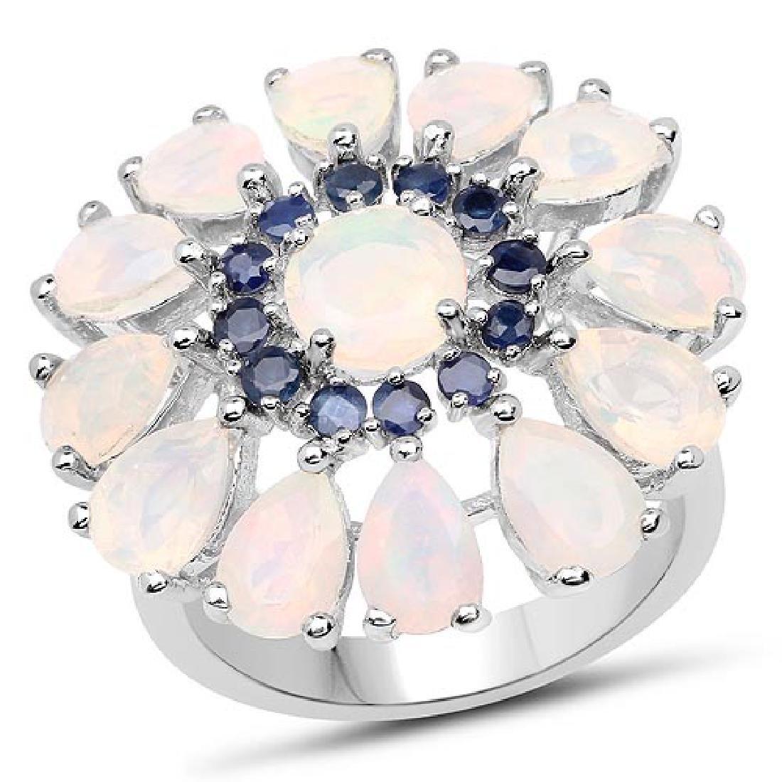 3.98 Carat Genuine Ethiopian Opal and Blue Sapphire .92