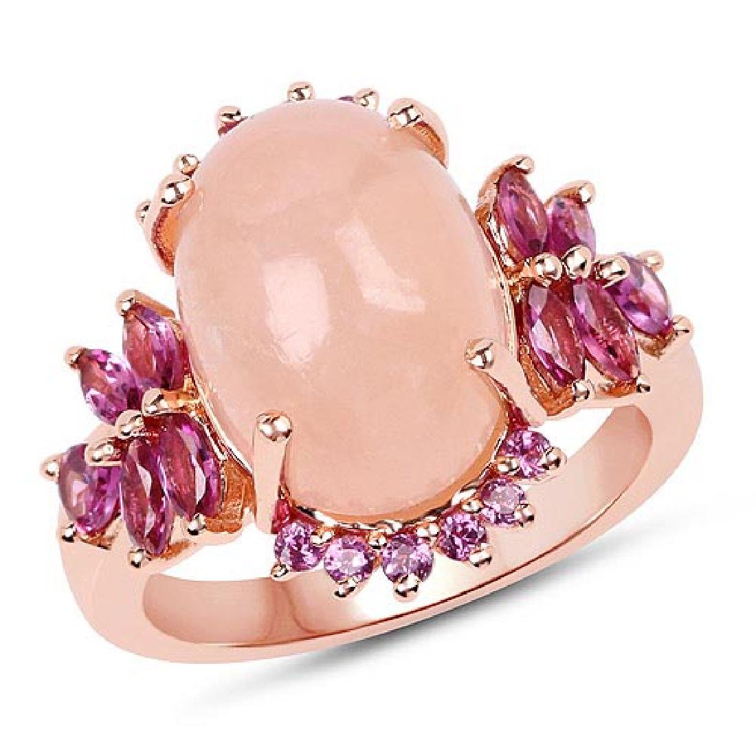 14K Rose Gold Plated 9.13 Carat Genuine Morganite and R