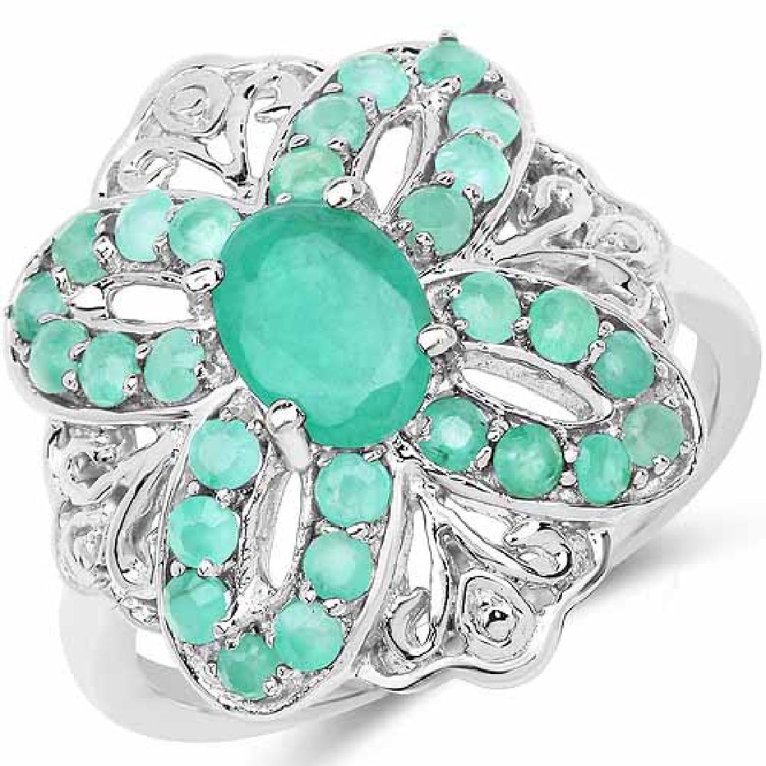1.43 Carat Genuine Emerald .925 Sterling Silver Ring