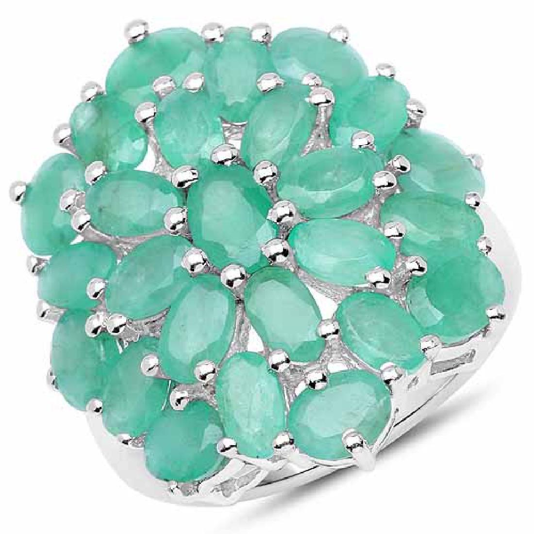5.88 Carat Genuine Emerald .925 Sterling Silver Ring