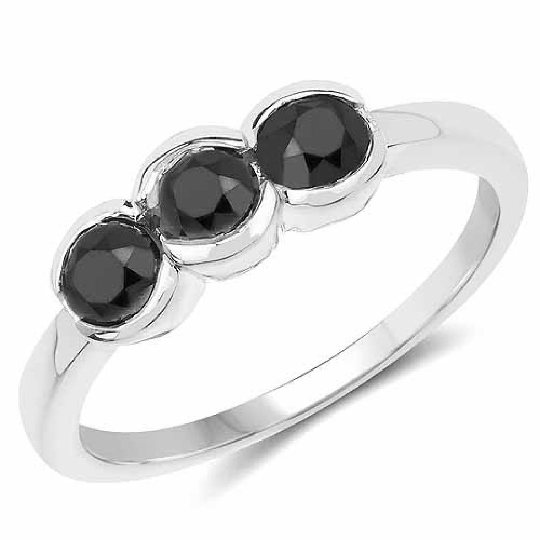 1.16 Carat Genuine Black Diamond .925 Sterling Silver R