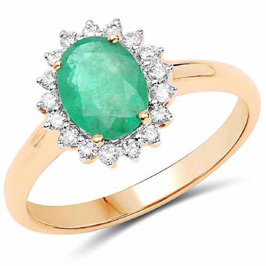 1.43 Carat Genuine Zambian Emerald and White Diamond 14