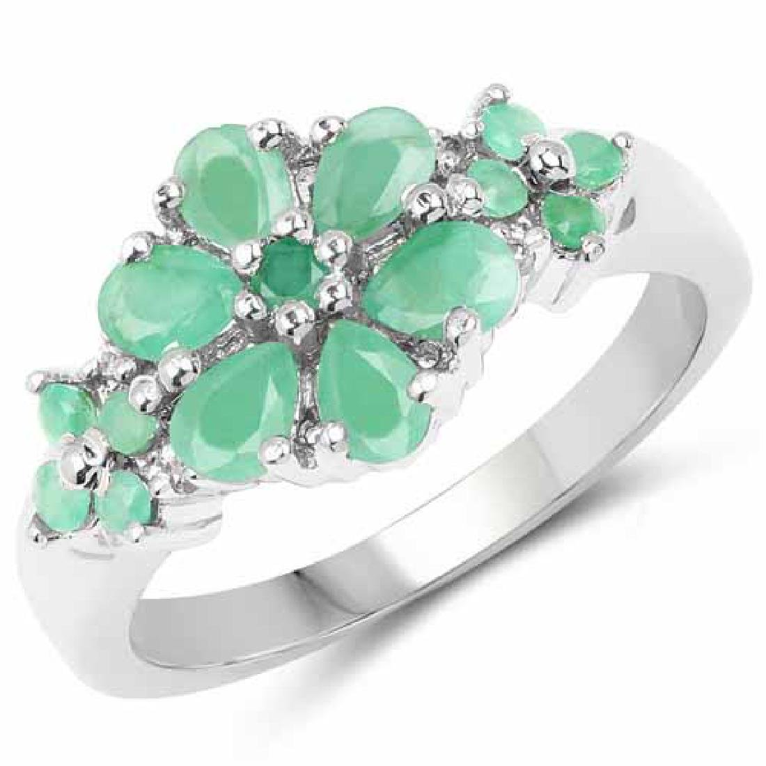 1.11 Carat Genuine Emerald and White Topaz .925 Sterlin