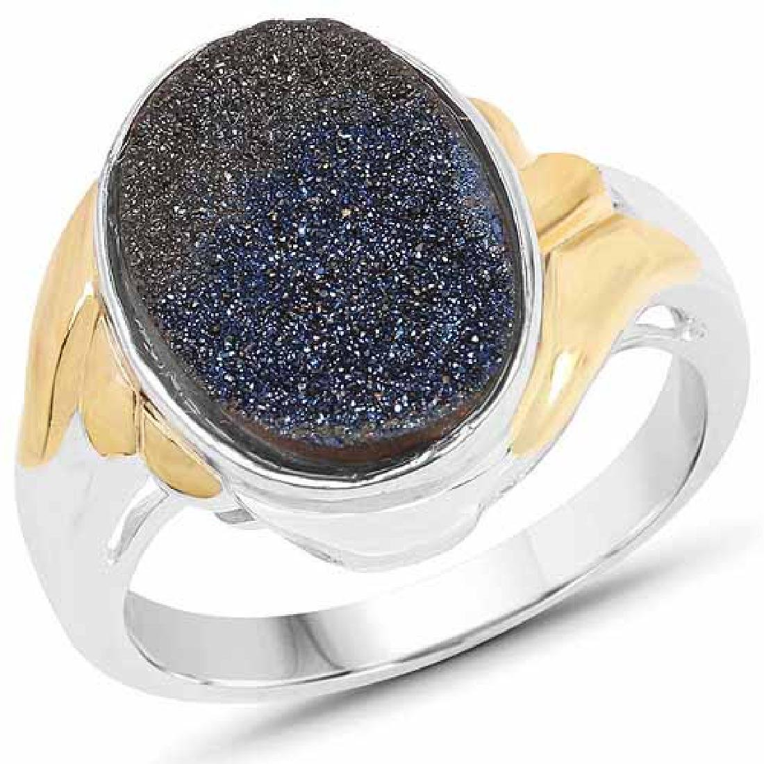 Two Tone Plated 4.15 Carat Genuine Blue Drusy .925 Ster