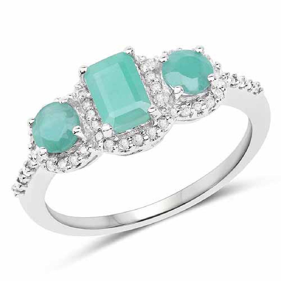 1.21 Carat Genuine Emerald and White Diamond 10K White