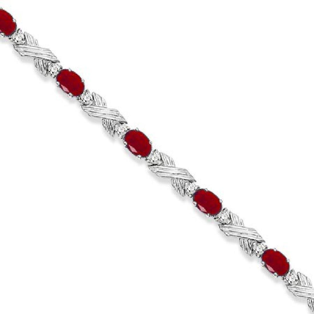 Ruby and Diamond XOXO Link Bracelet in 14k White Gold (