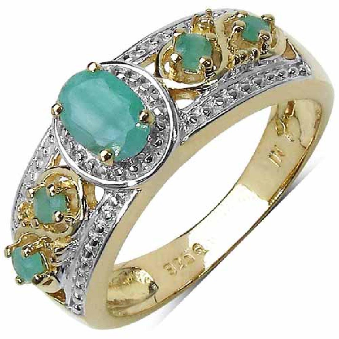 14K Gold Plated 0.57 Carat Genuine Emerald Sterling Sil