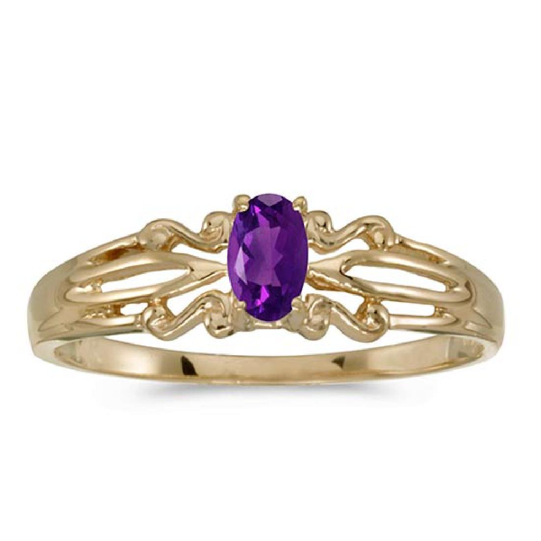 Certified 14k Yellow Gold Oval Amethyst Ring 0.18 CTW