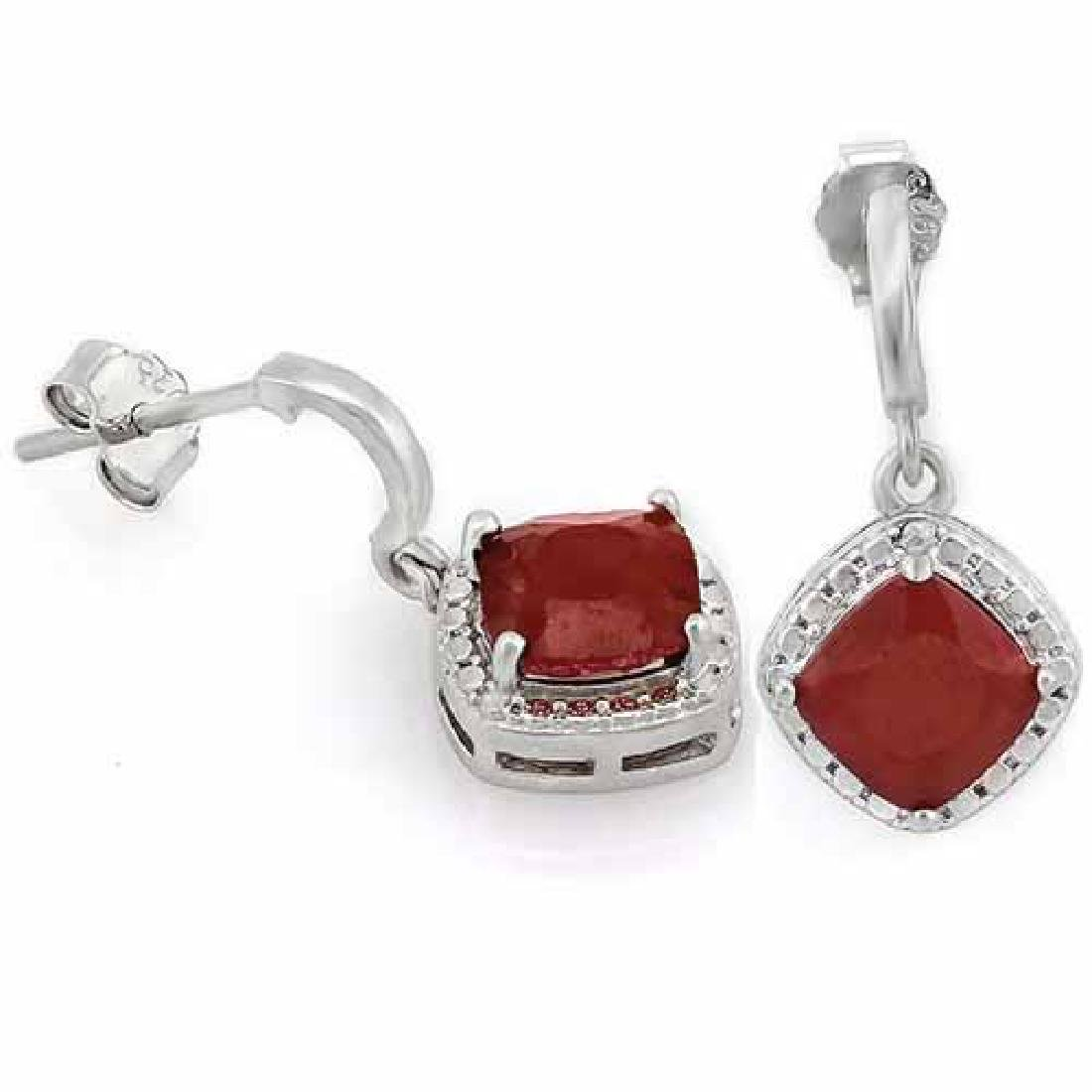 2 4/5 CARAT GENUINE RUBY & DIAMOND 925 STERLING SILVER