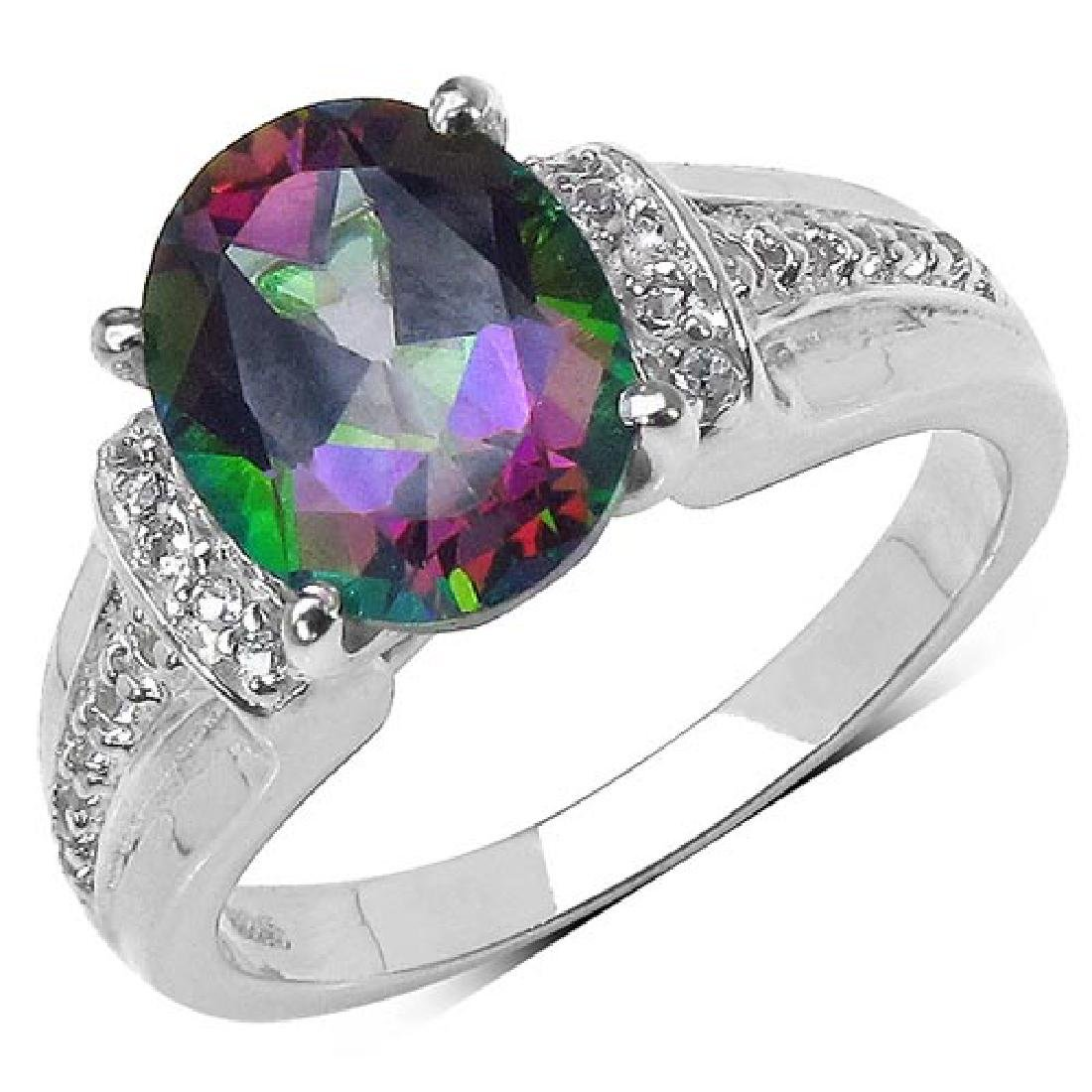 3.40 ct. t.w. Mystic Topaz and White Topaz Ring in Ster