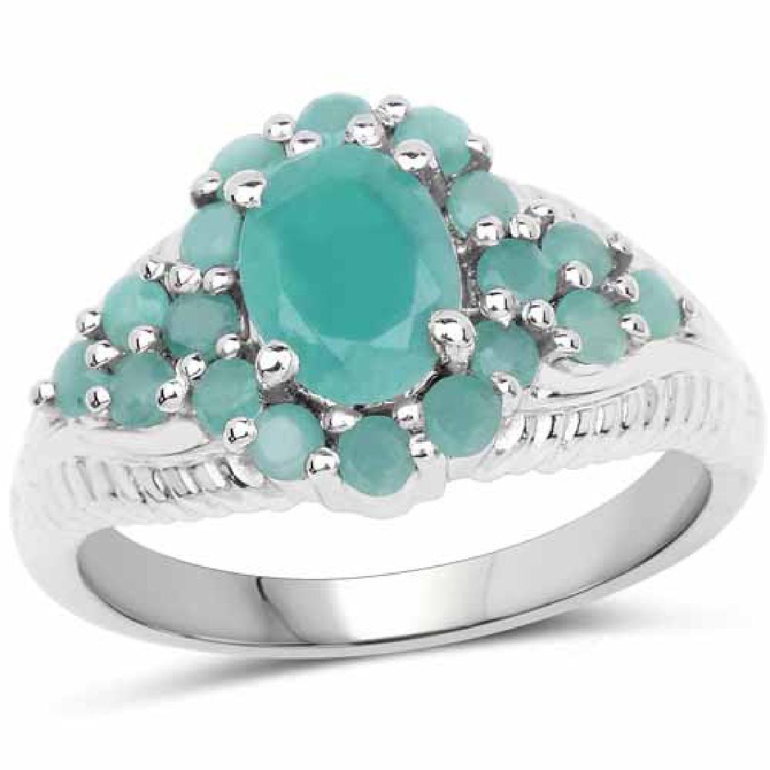 2.13 Carat Genuine Emerald .925 Sterling Silver Ring