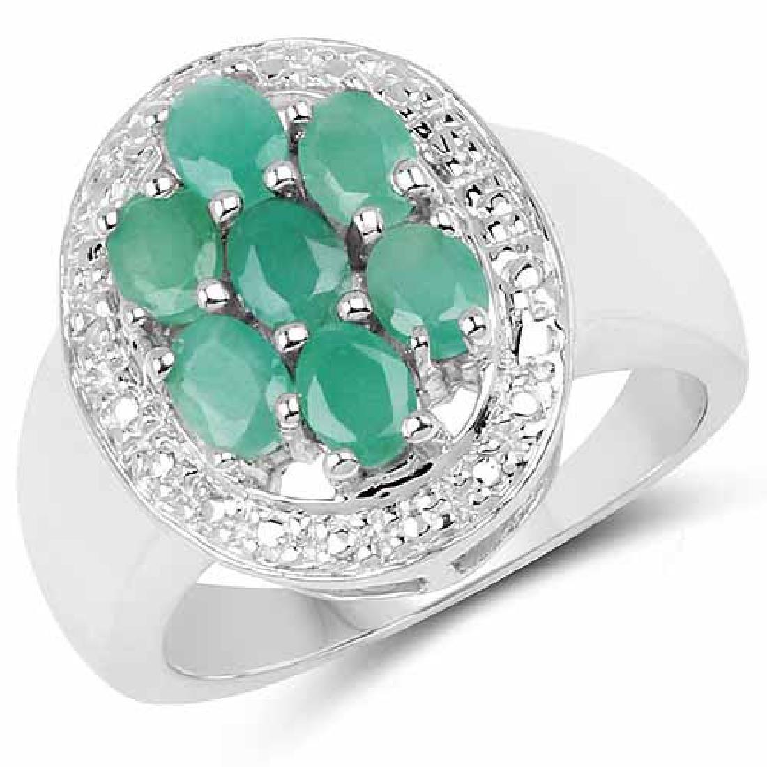0.98 Carat Genuine Emerald .925 Sterling Silver Ring