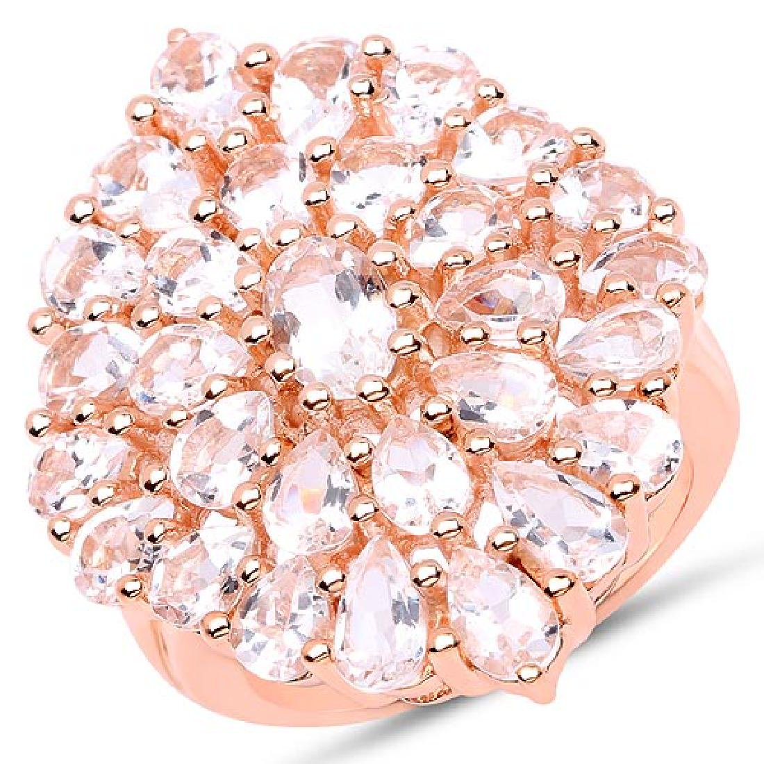 18K Rose Gold Plated 4.55 Carat Genuine Morganite .925
