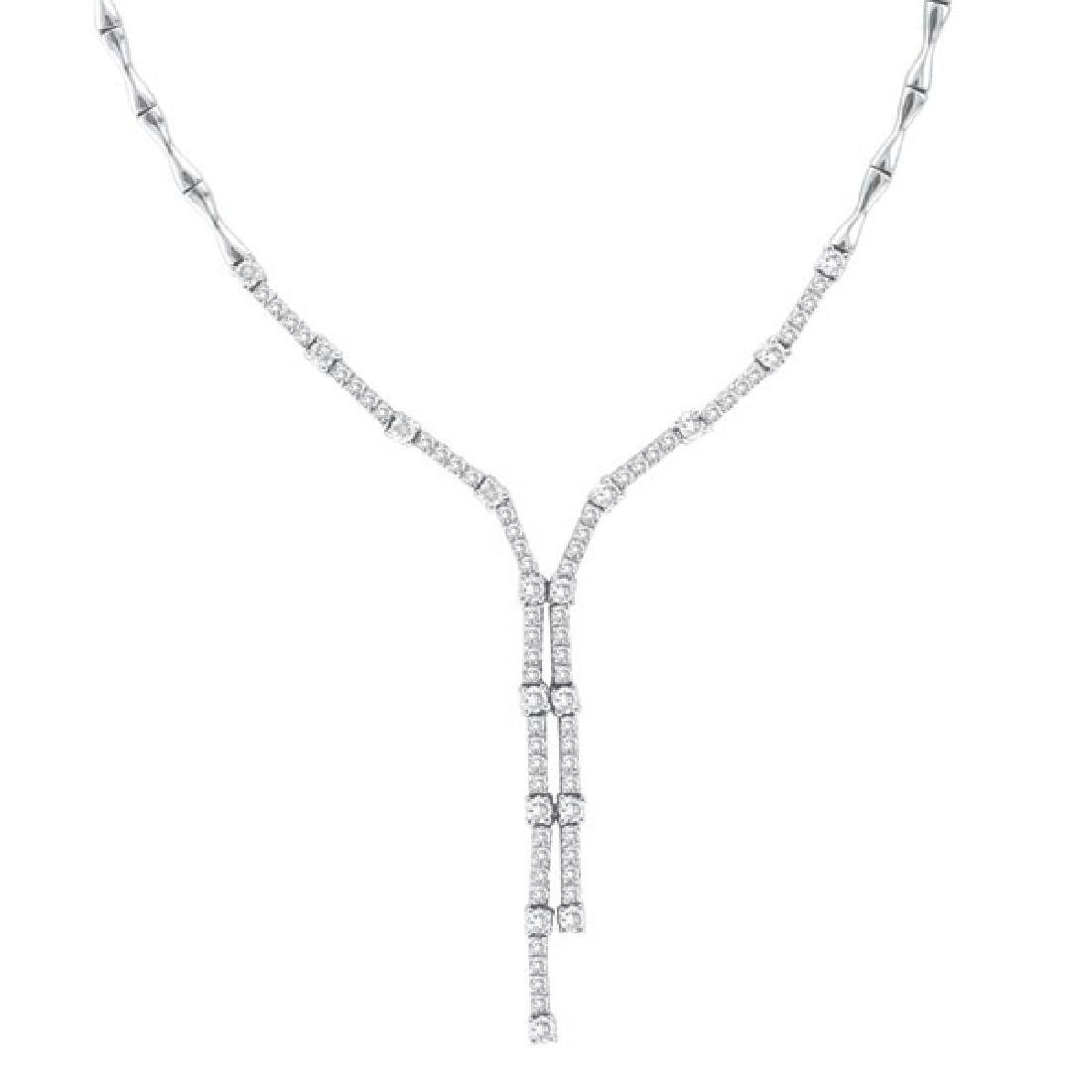 Diamond Tie Lariat Choker Necklace in 14K White Gold (2