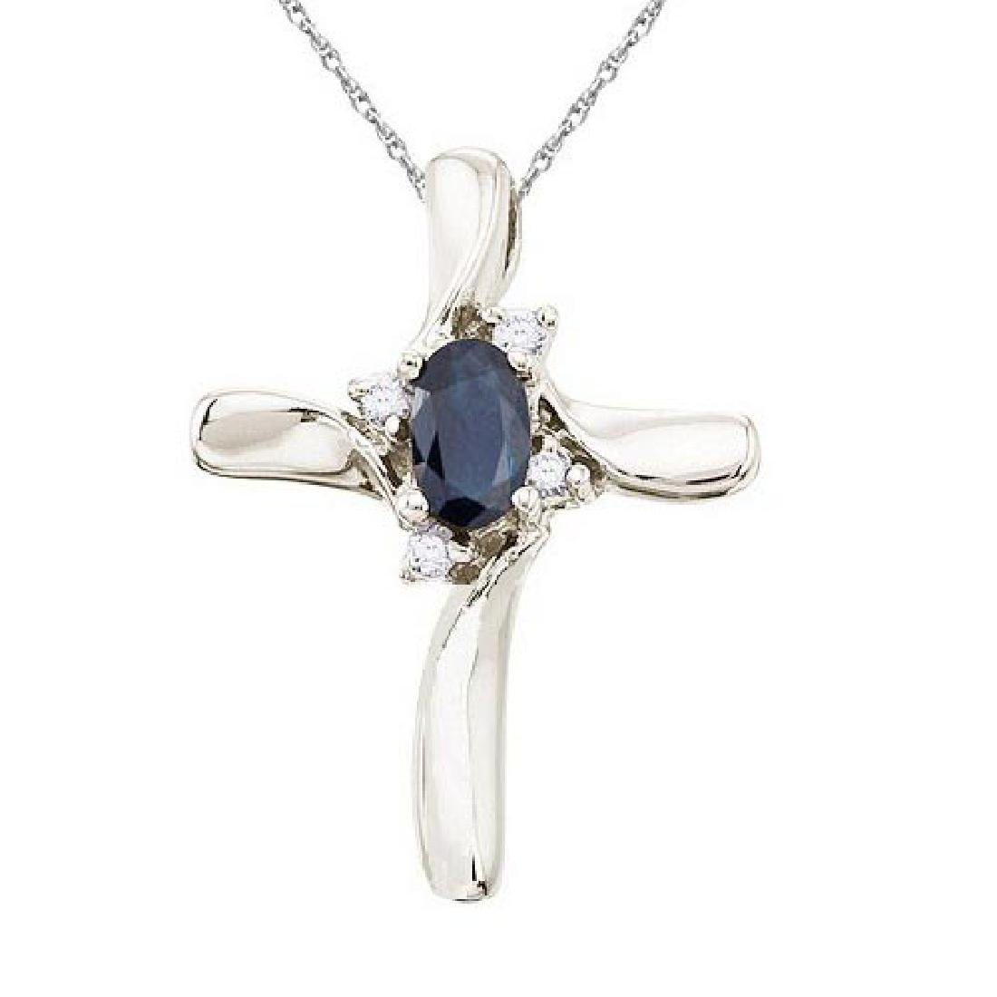 Blue Sapphire and Diamond Cross Necklace Pendant 14k Wh