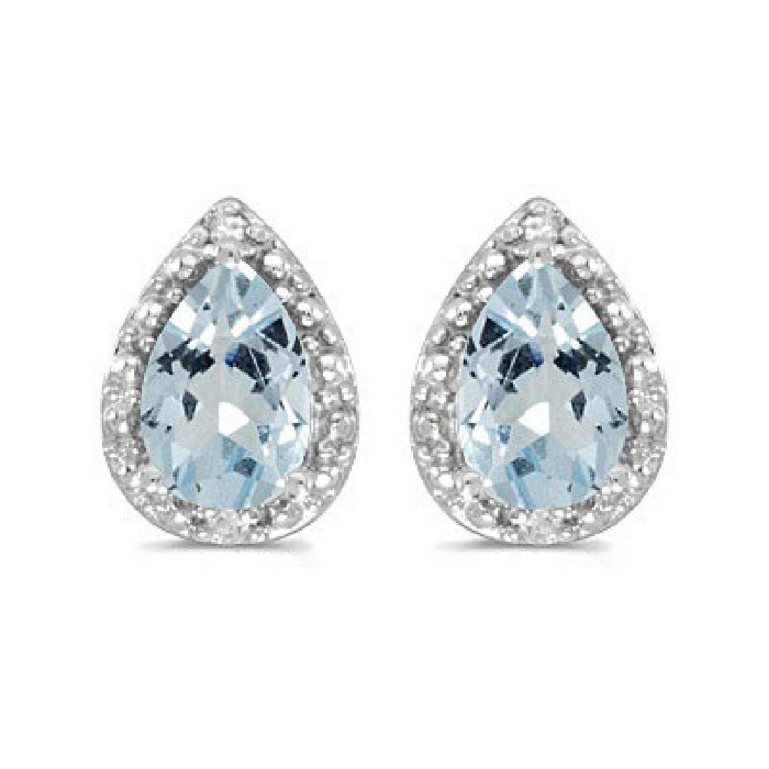 Pear Aquamarine and Diamond Stud Earrings 14k White Gol