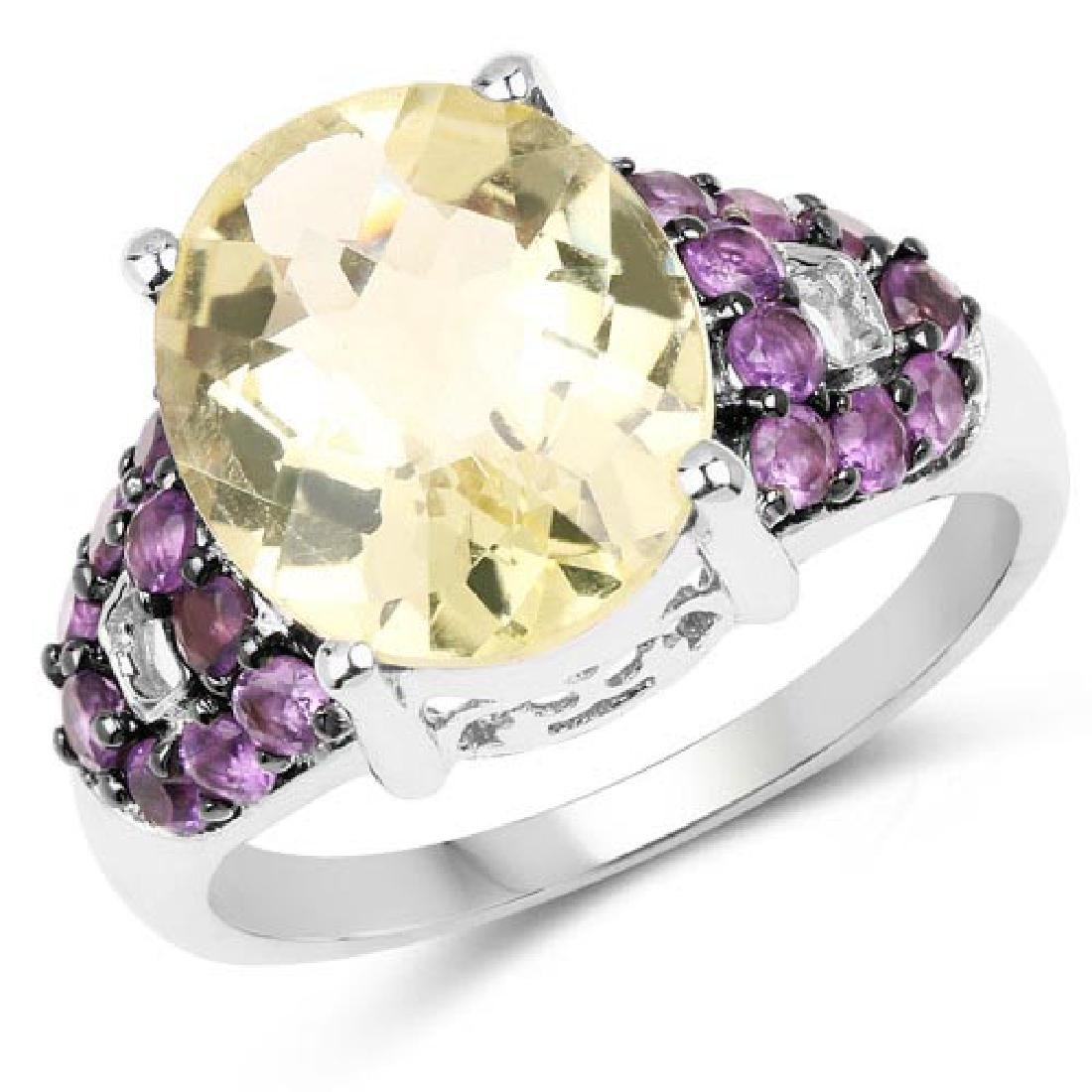 4.61 Carat Genuine Lemon Quartz and Amethyst .925 Sterl