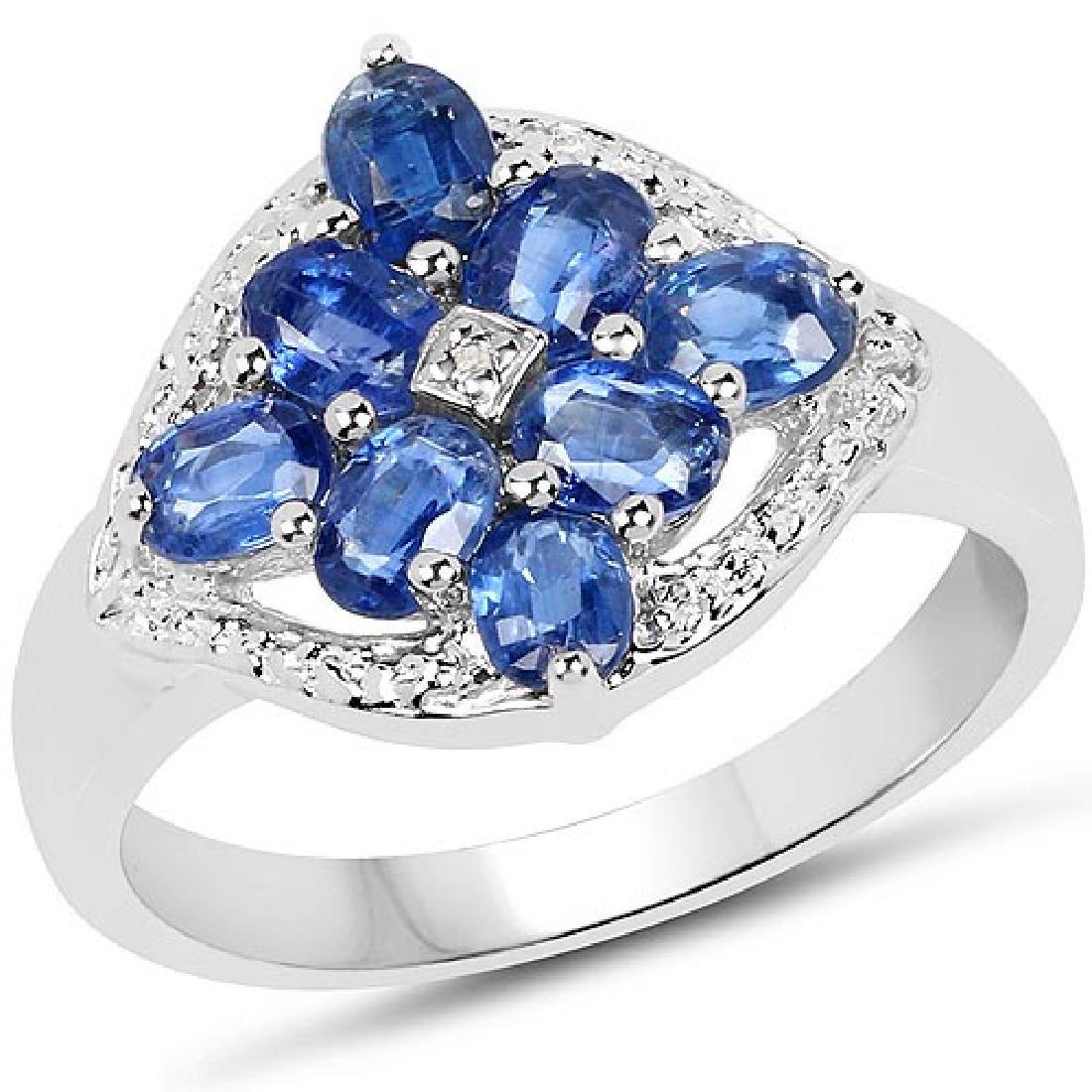 2.17 Carat Genuine Kyanite & White Diamond .925 Sterlin