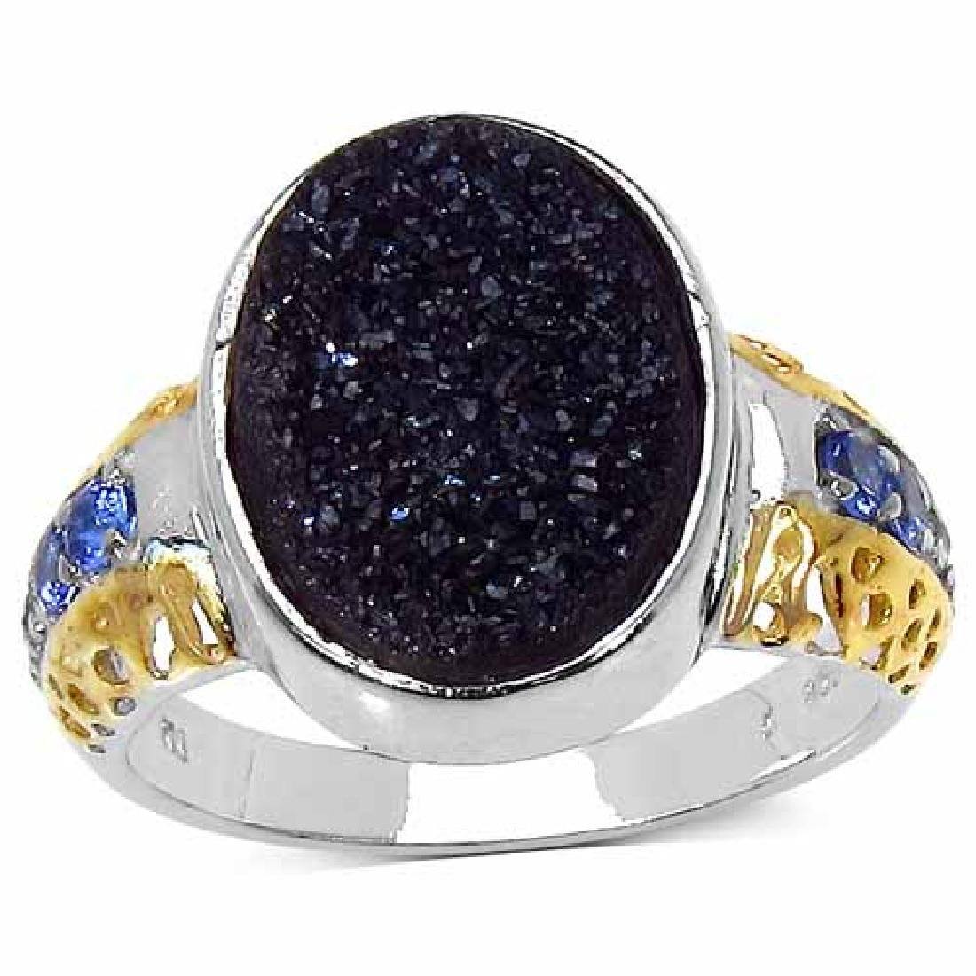 Two Tone Plated 4.46 Carat Brown Drusy Ring with 0.24 c