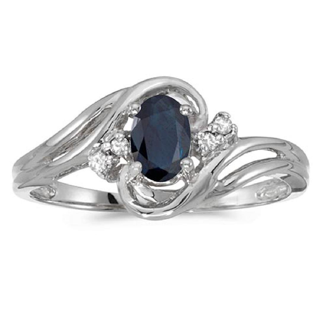 Certified 10k White Gold Oval Sapphire And Diamond Ring