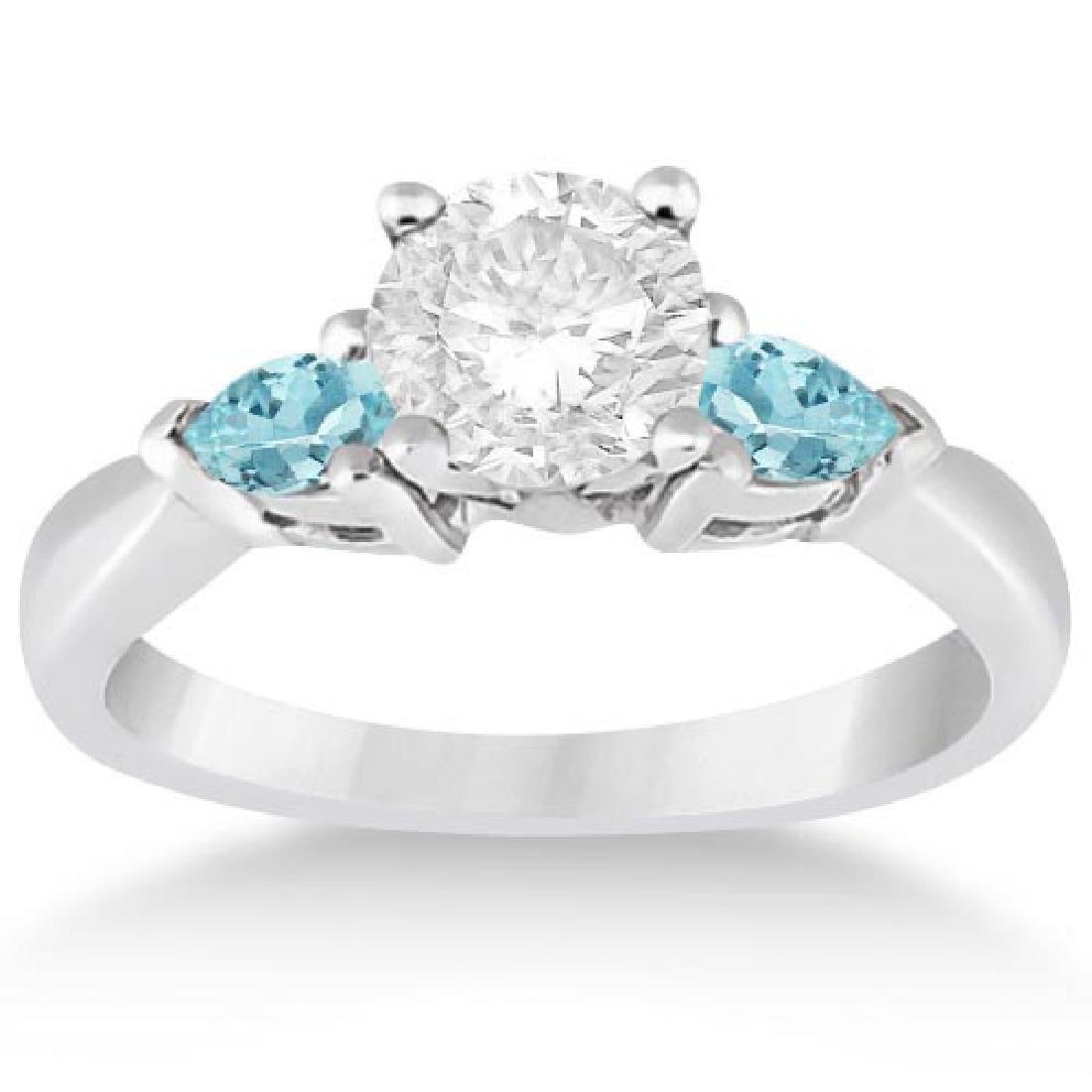 Pear Cut Three Stone Aquamarine Engagement Ring 14k Whi