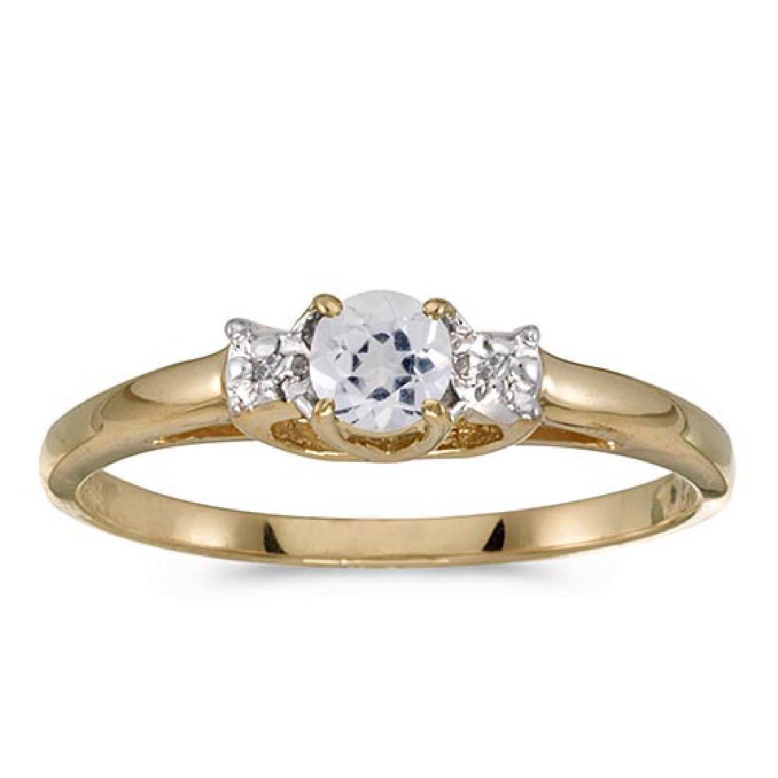 Certified 10k Yellow Gold Round White Topaz And Diamond