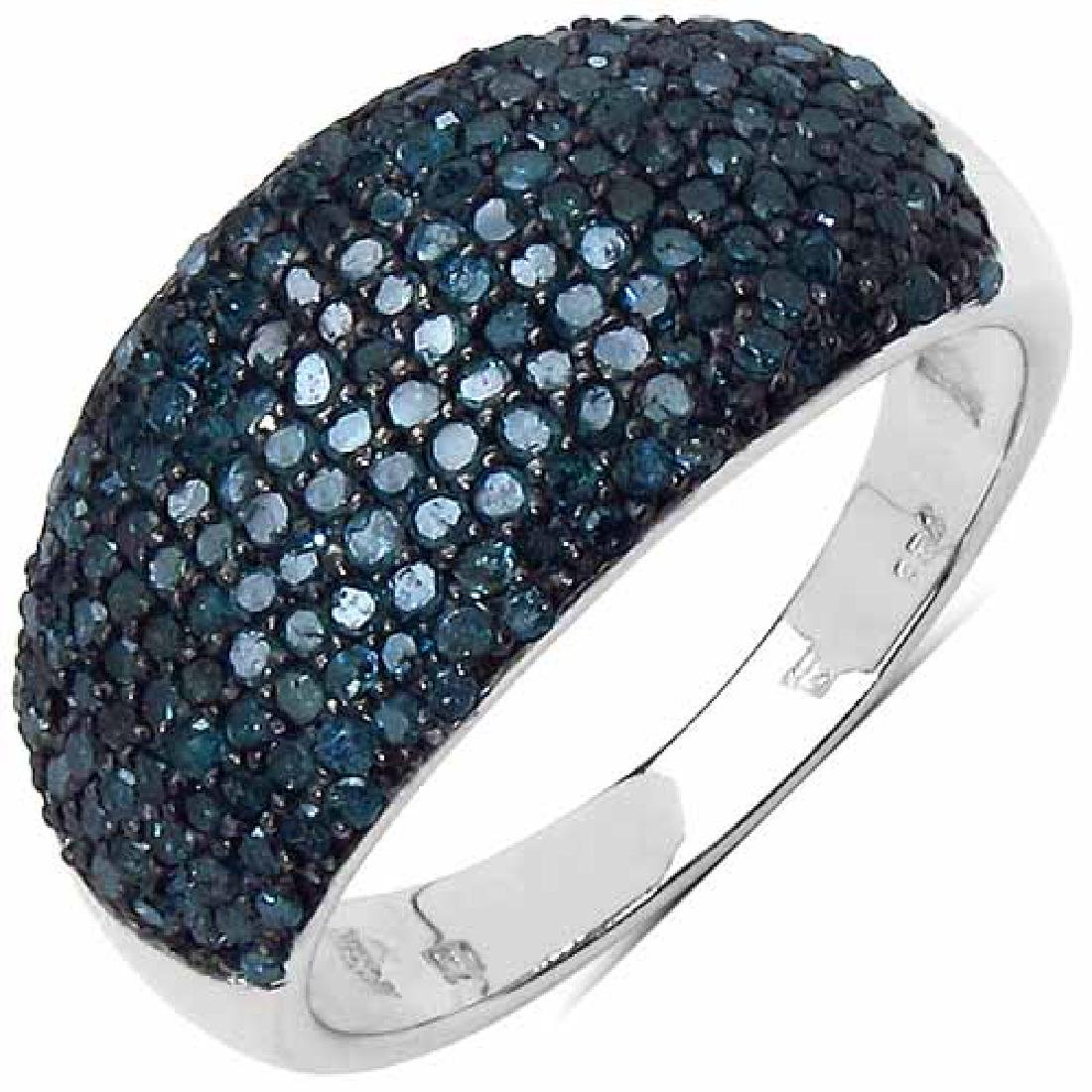 0.99 Carat Genuine Blue Diamond Sterling Silver Ring