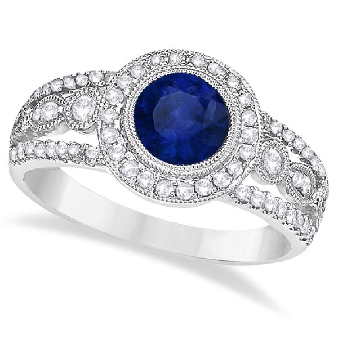 Vintage Blue Sapphire and Diamond Ring 14k White Gold (