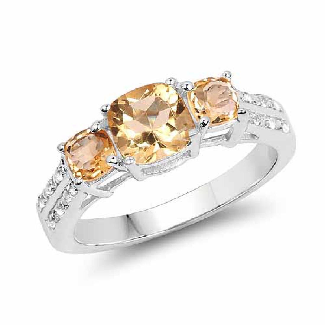 1.56 Carat Genuine Citrine and White Topaz .925 Sterlin