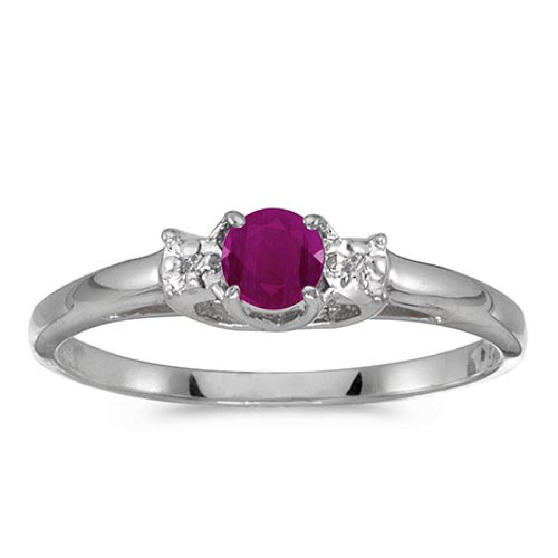 Certified 10k White Gold Round Ruby And Diamond Ring 0.