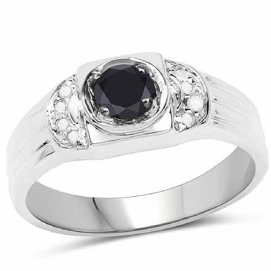 0.39 Carat Genuine Black Diamond and White Diamond .925