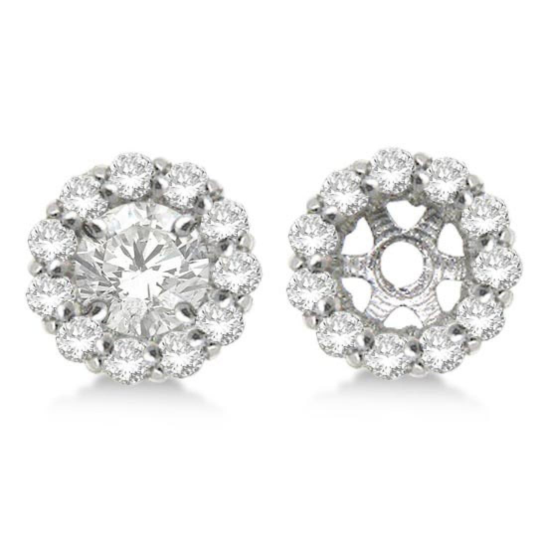 Round Diamond Earring Jackets for 8mm Studs 14K White G