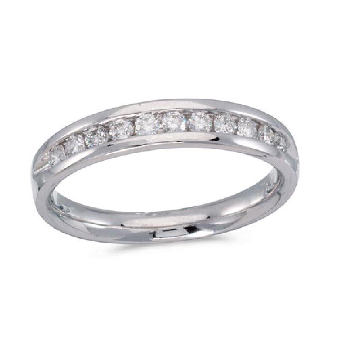 Certified 14K White Gold Diamond Diamond Band Ring 0.33