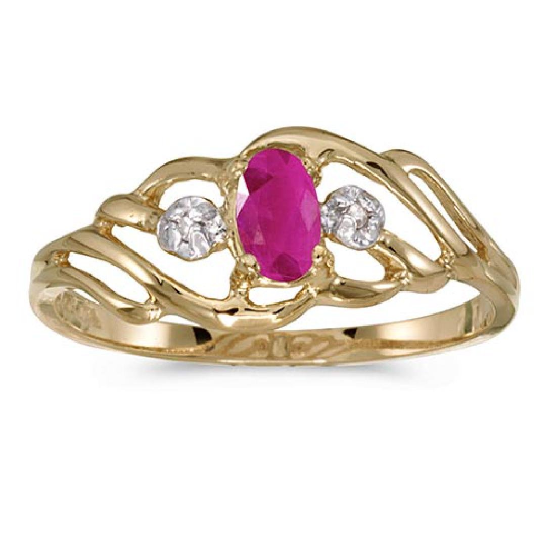 Certified 14k Yellow Gold Oval Ruby And Diamond Ring 0.