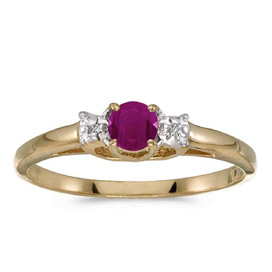 Certified 10k Yellow Gold Round Ruby And Diamond Ring 0