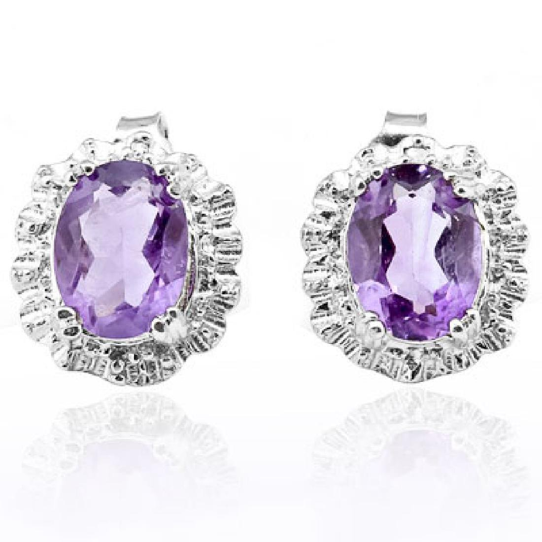 2.263 CARAT AMETHYST & GENUINE DIAMOND PLATINUM OVER 0.
