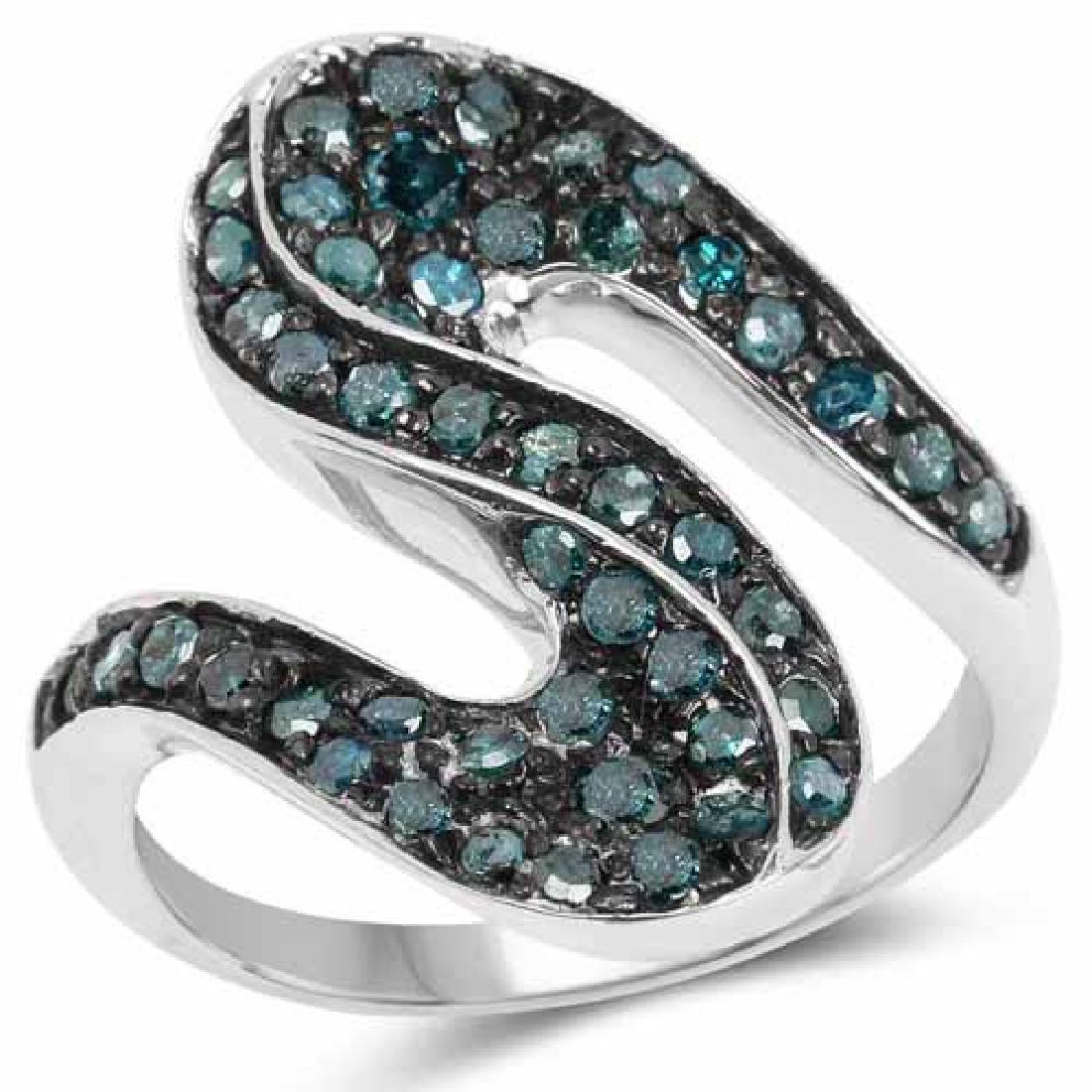 0.76 Carat Genuine Blue Diamond .925 Sterling Silver Ri
