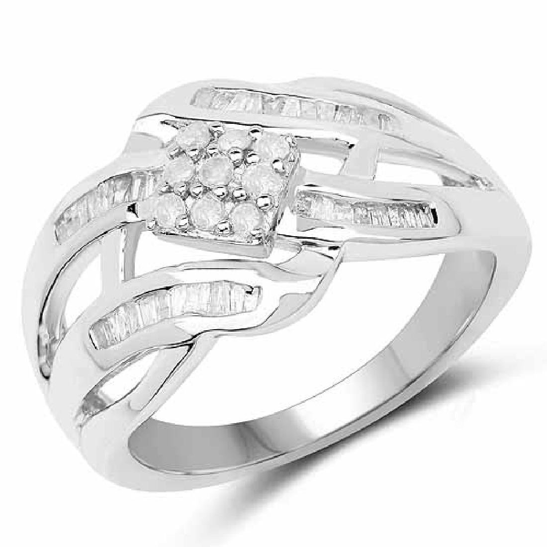 0.42 Carat Genuine White Diamond .925 Sterling Silver R