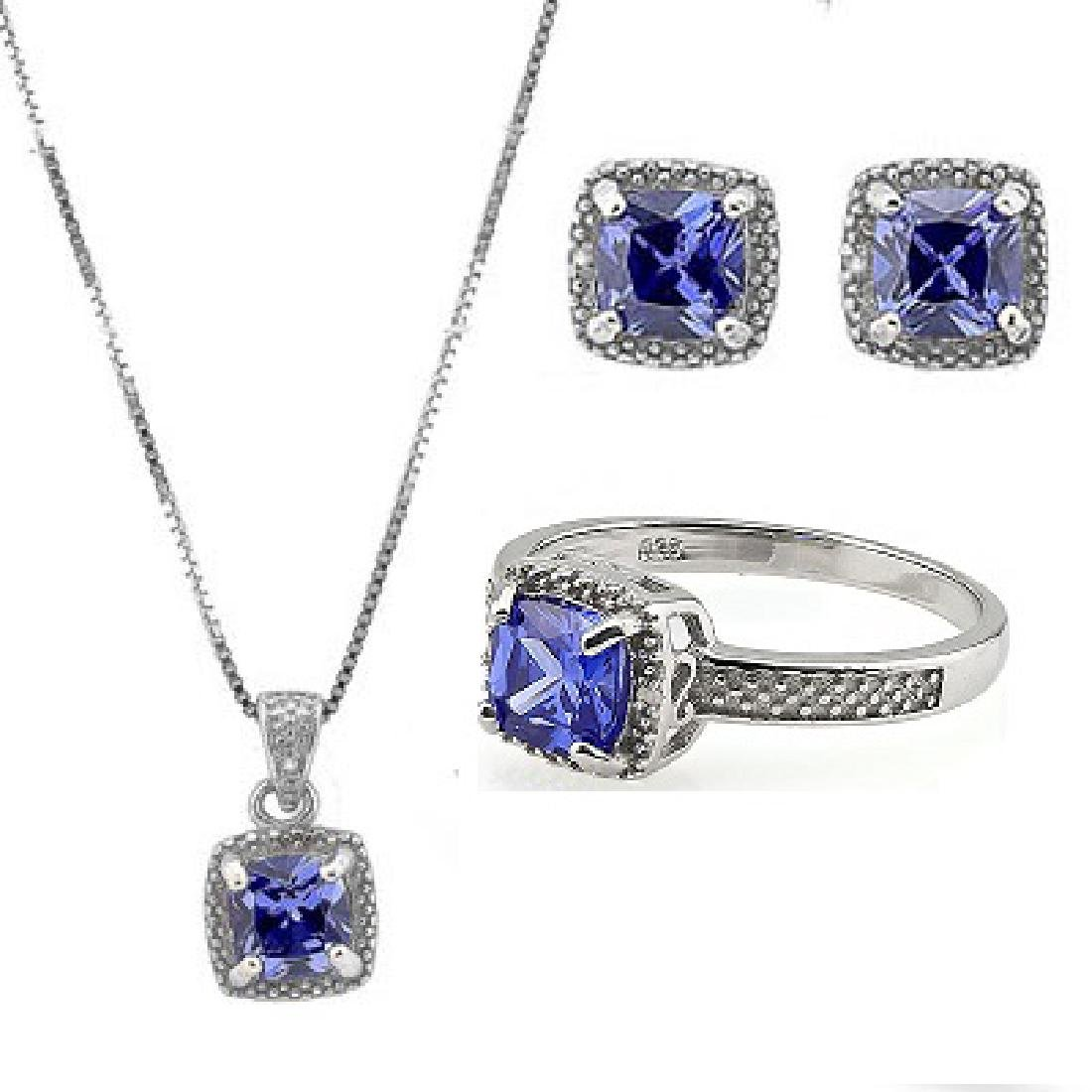 6 1/2 CARAT LAB TANZANITE & DIAMOND 925 STERLING SILVER