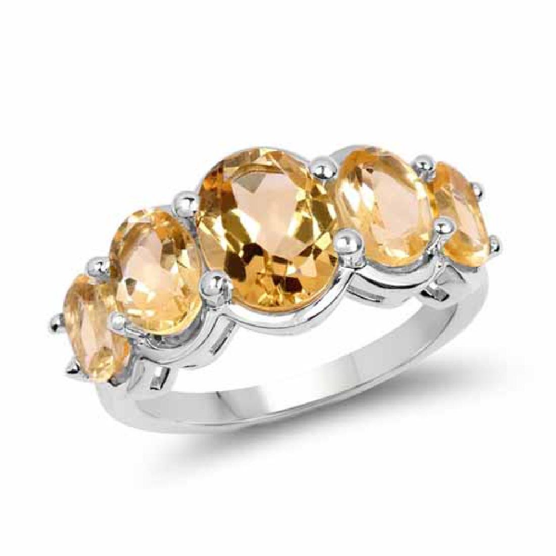 4.26 Carat Genuine Citrine .925 Sterling Silver Ring