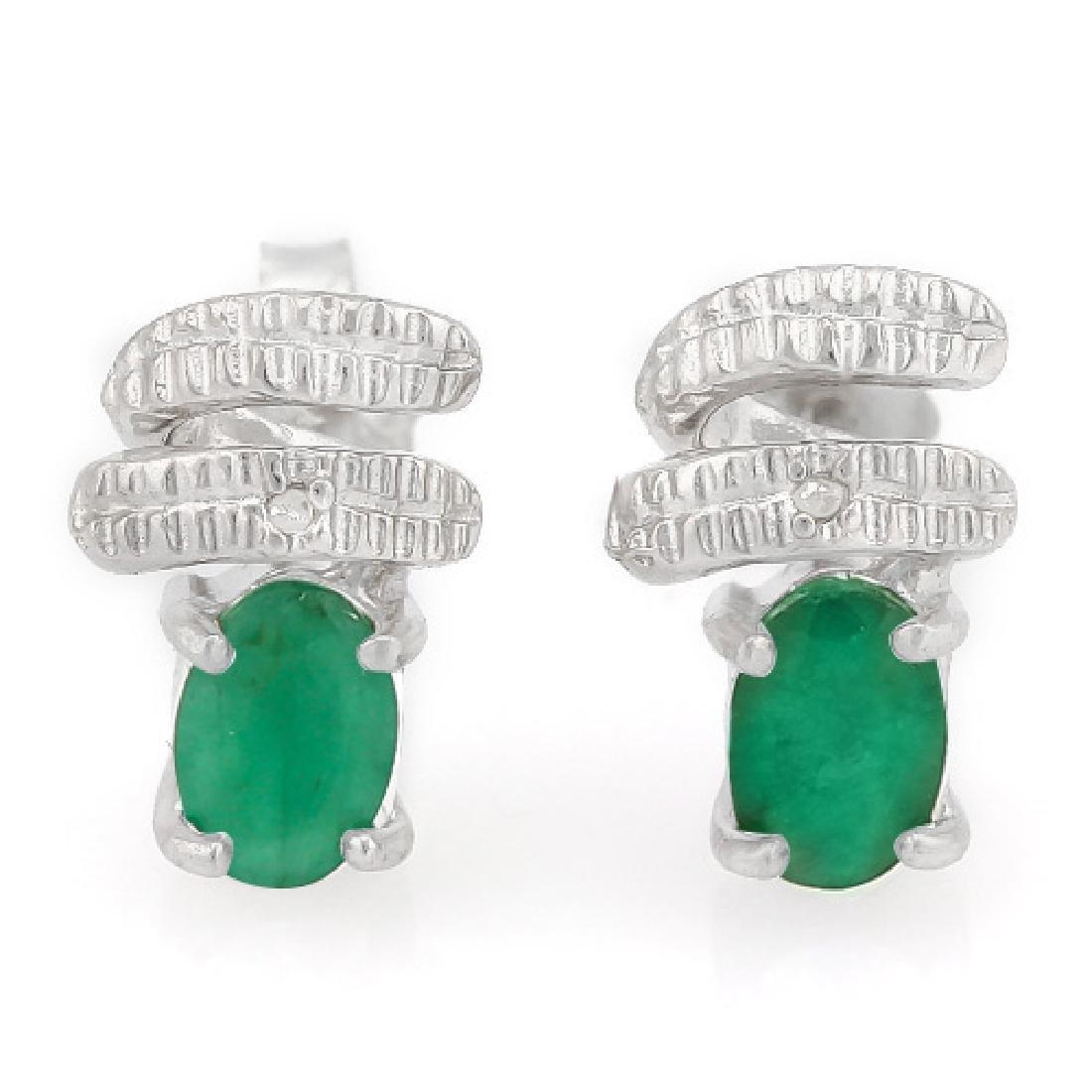 1 CARAT EMERALD & DIAMOND 925 STERLING SILVER EARRINGS
