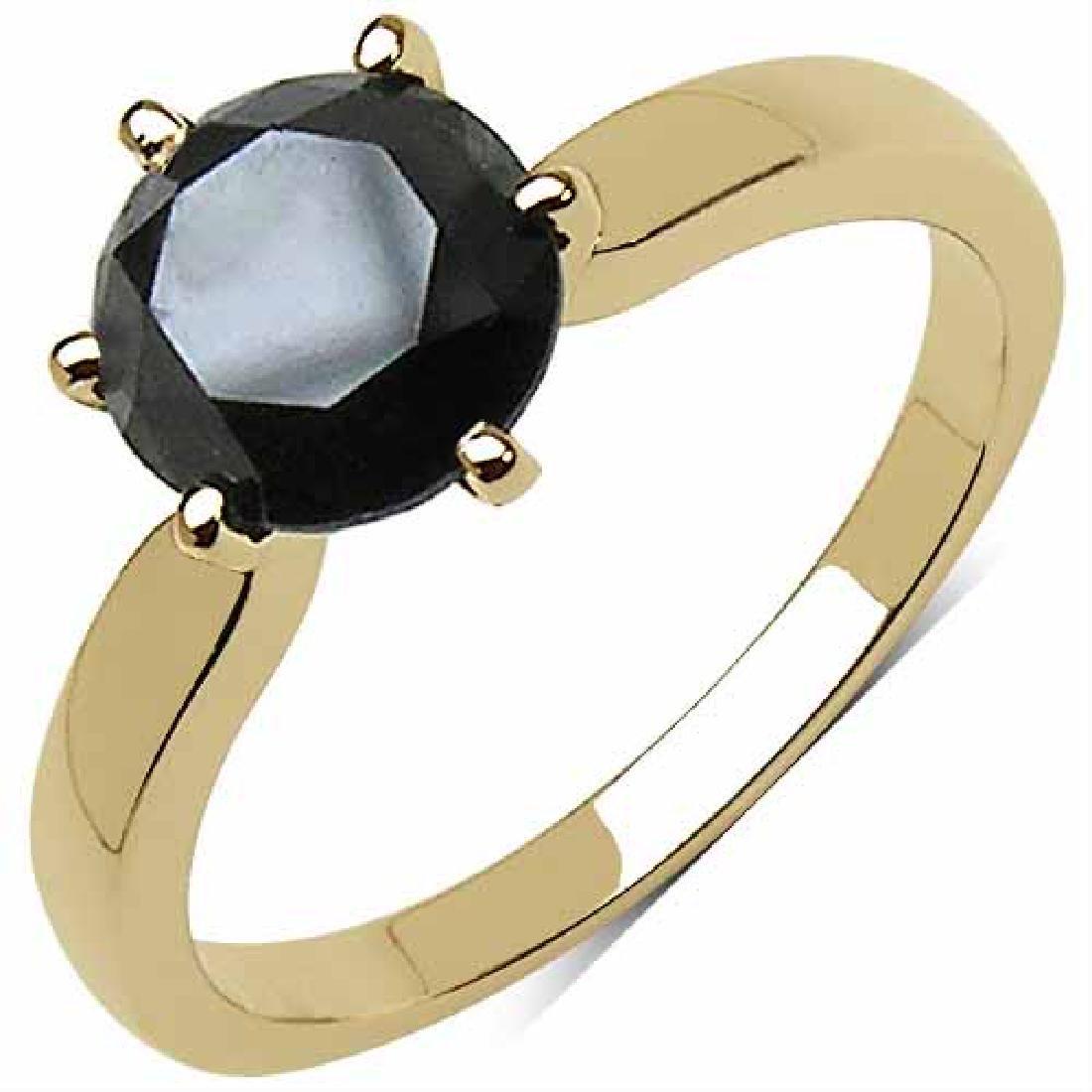 2.57 Carat Genuine Black Diamond 10K Yellow Gold Ring