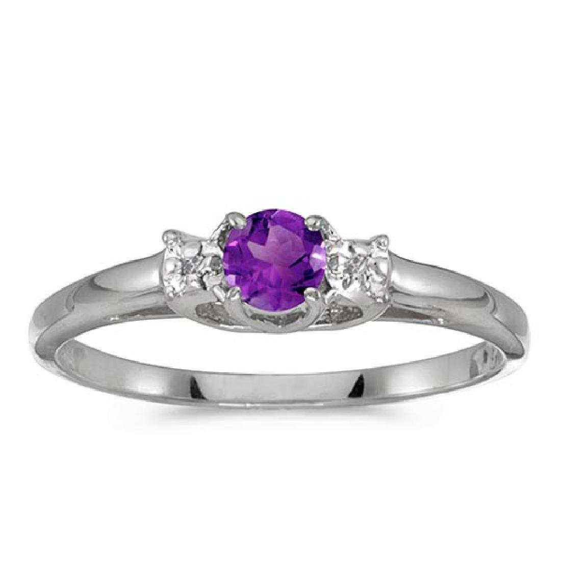 Certified 14k White Gold Round Amethyst And Diamond Rin