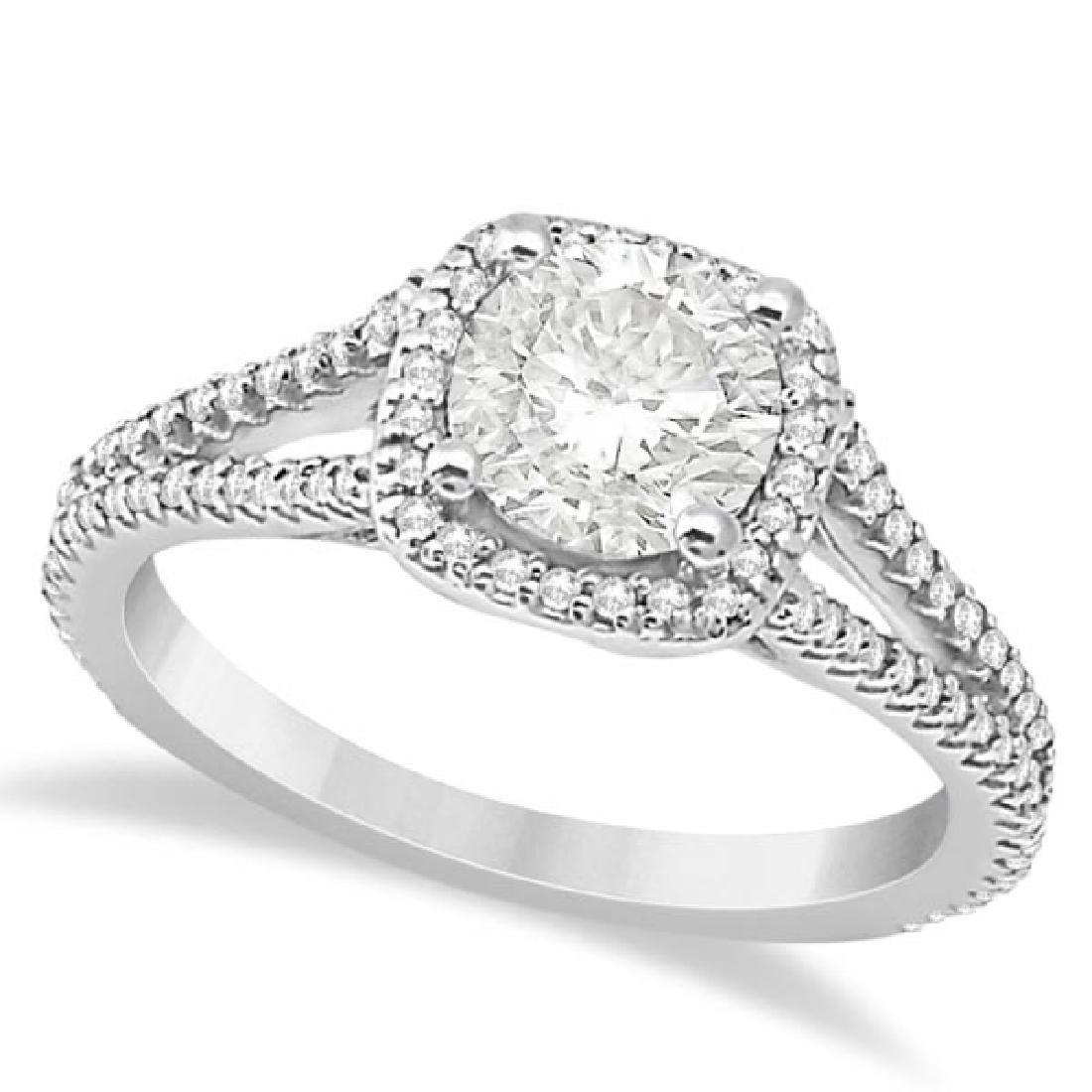 Square Halo Diamond Engagement Ring Split Shank 14K Whi