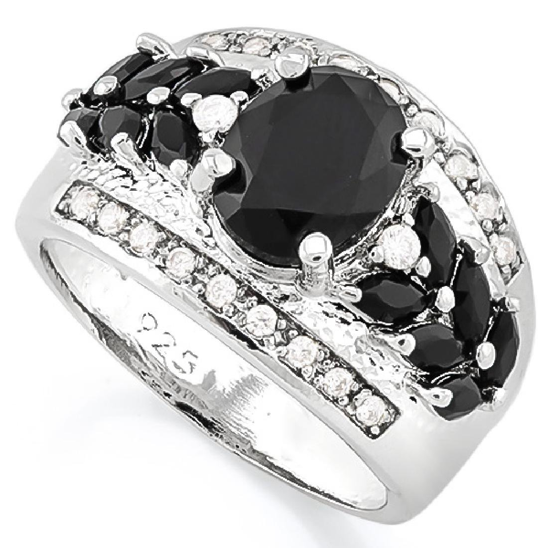 CREATED BLACK SAPPHIRE 925 STERLING SILVER RING