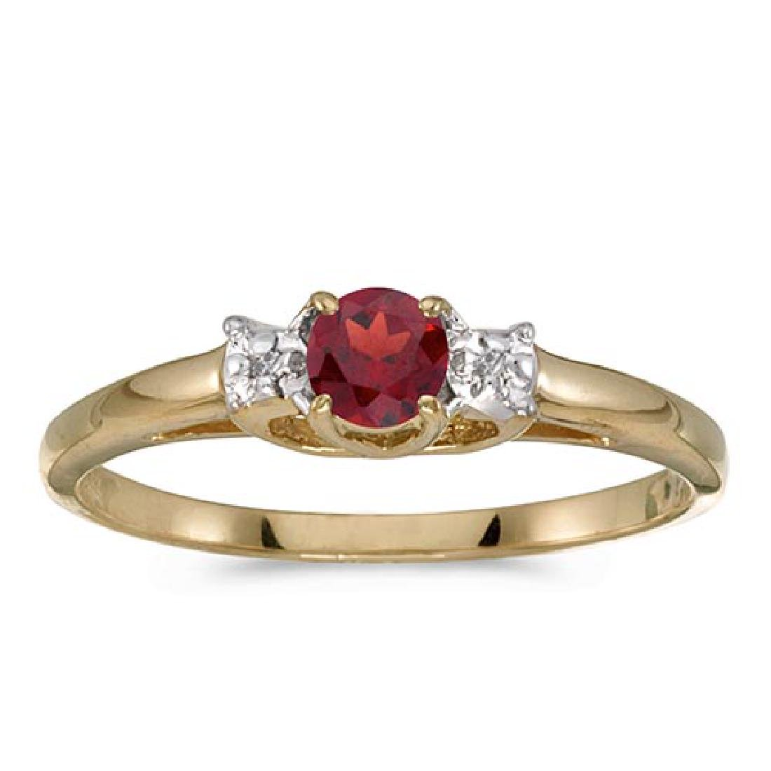 Certified 10k Yellow Gold Round Garnet And Diamond Ring
