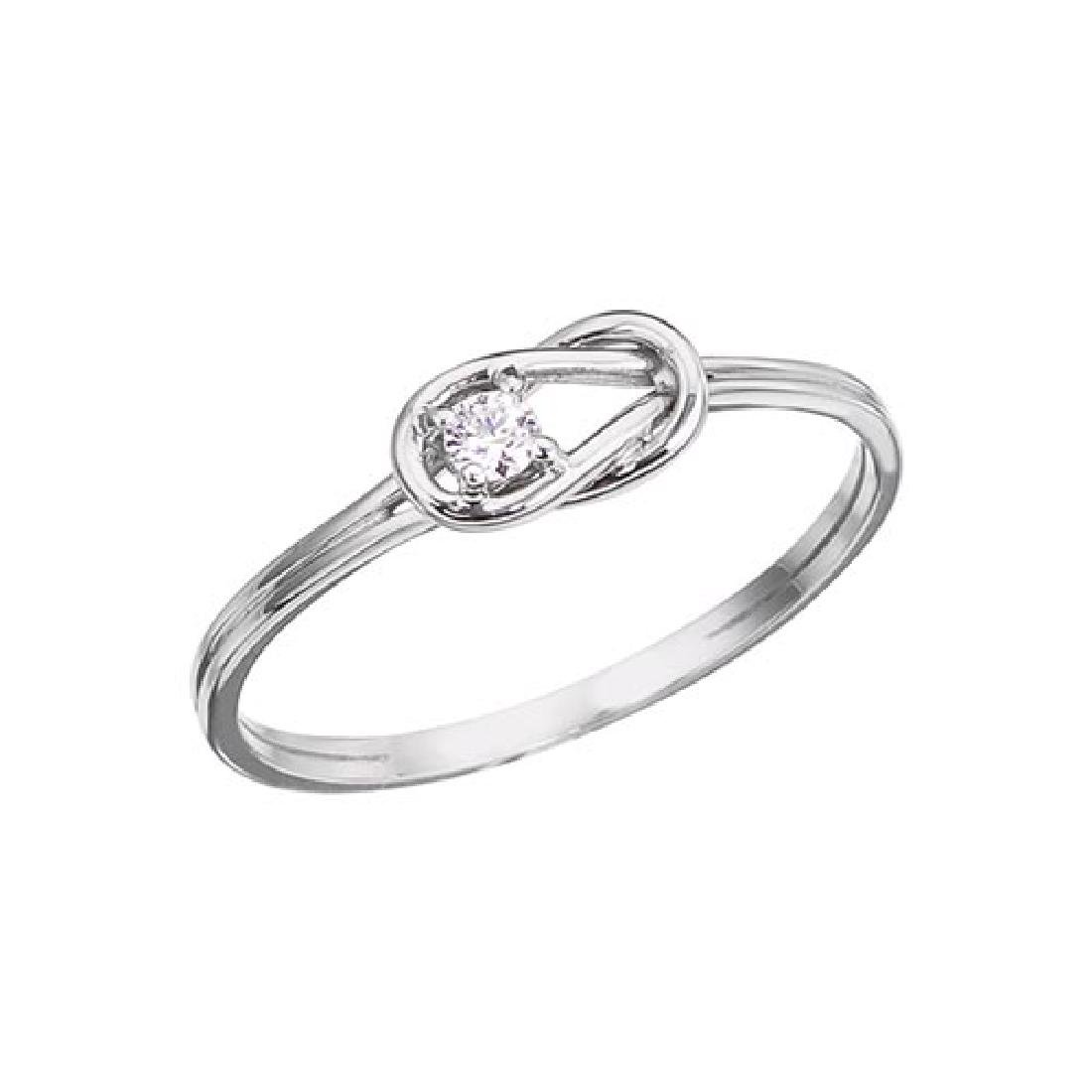 Certified 14K White Gold Boaters Knot Diamond Ring 0.07